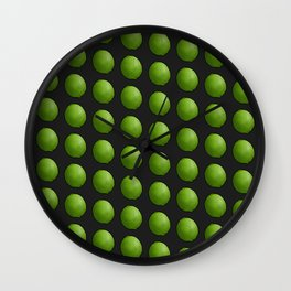 Whole Green Limes on Black Wall Clock