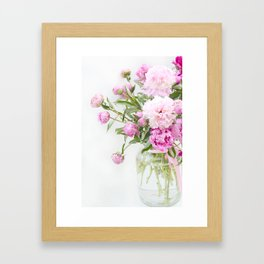 Shabby Chic Romantic Cottage Pink Peonies In Jar Framed Art Print