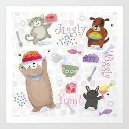 Bunny Dog Bear Cat Jello Treats Art Print