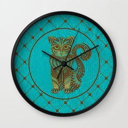 Zentangle  Cat Embossed on Faux Leather Wall Clock