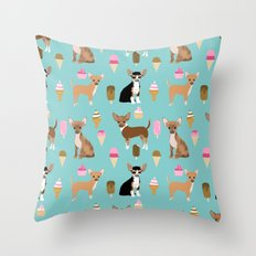 Chihuahua ice cream sweet treat summer food dog breed dogs pets Throw Pillow