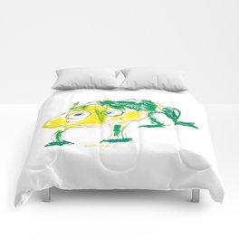 Crazy frog illustration, green frog design, frog pattern for children Comforters