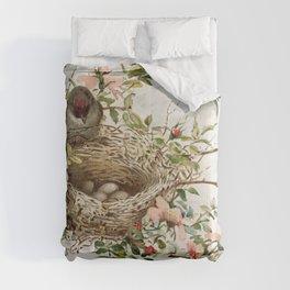 Vintage Bird with Eggs in Nest Comforters