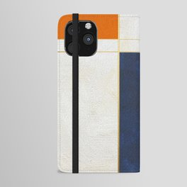 Orange, Blue And White With Golden Lines Abstract Painting iPhone Wallet Case