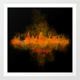 Chicago City Skyline Hq v4 Art Print