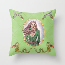 Anne Bonny, Lady Pirate Throw Pillow