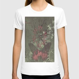 Little butterfly and the flower, pink, butterfly, love, gray, flower T-shirt