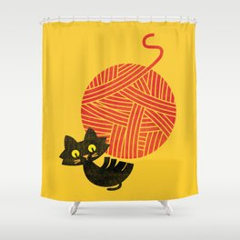 Fitz - Happiness (cat and yarn) Shower Curtain