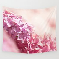 bible Wall Tapestries featuring Dreamy pink hydrangea by UtArt