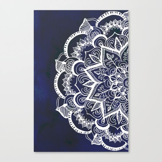 White Feather Mandala on Navy Canvas Print