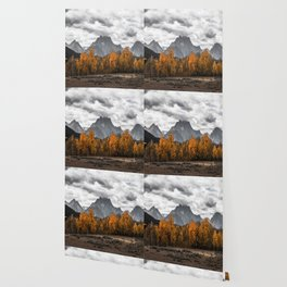Teton Fall - Autumn Colors and Grand Tetons in Black and White Wallpaper