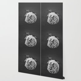 Black and White Peony Stem Wallpaper