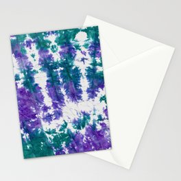 Tie dye in green and purple textured paper Stationery Cards