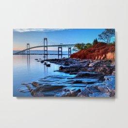 Newport Bridge, Rhode Island - Autumn Twilight Landscape Painting by Jeanpaul Ferro Metal Print