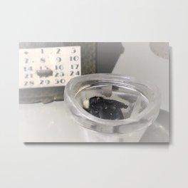 Dead Bee in Eye Wash Cup Metal Print