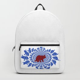 Dinosaur Fractal Print in Blue and Red Backpack