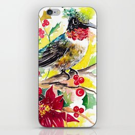 Christmas hummingbird 2 iPhone Skin