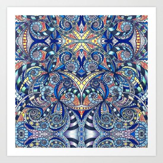 Drawing Floral Zentangle G7B Art Print