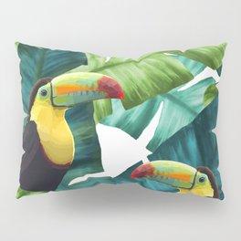 Toucans Tropical Banana Leaves Pattern Pillow Sham