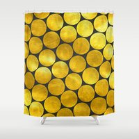 gold dots Shower Curtains featuring Gold Polka Dots by Juste Pixx Designs