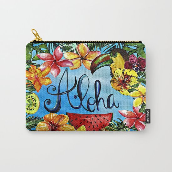 Aloha - Tropical Flower Food and Animal Summer Design on #Society6 Carry-All Pouch