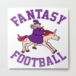 Fantasy Football Magician Wizard Mage Unicorn Gift Metal Print
