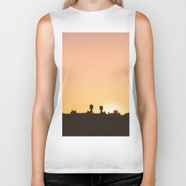 New York Water Towers Sunset Biker Tank