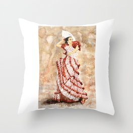 Spanish Flamenco Dancer Throw Pillow