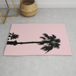 Palm Tree Silhouettes On Pink Rug