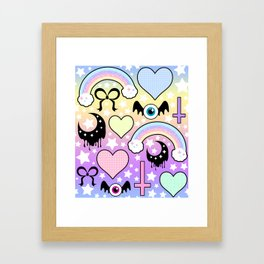 Pastel Goth Collage Framed Art Print