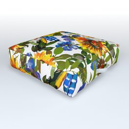 Navy blue yellow orange watercolor sunflower floral Outdoor Floor Cushion
