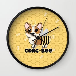 CorgBEE Cute Corgi Bee design for dog lovers - summer, spring, yellow, animal lover Wall Clock