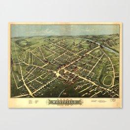 Vintage Pictorial Map of Westfield NJ (1875) Canvas Print
