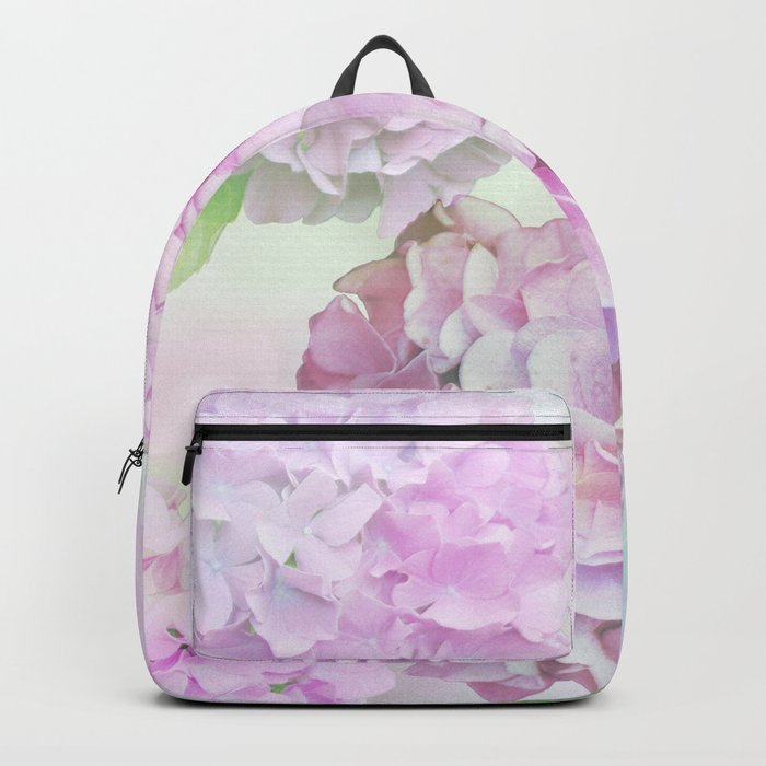 Painterly Hydrangea flowers on a pastel background Backpack