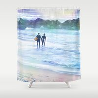 surfer Shower Curtains featuring Surfer Boys by Teresa Chipperfield Studios