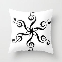 Treble Clef Hexaflower Throw Pillow