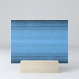 Mid Tone Blue Watercolor Brushstrokes Line Pattern Pairs To 2020 Color of the Year Chinese Porcelain Mini Art Print