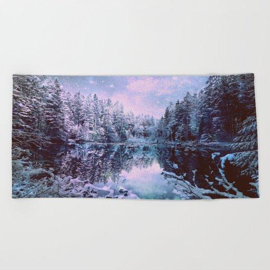 Lavender Blue Winter Wonderland Forest Beach Towel