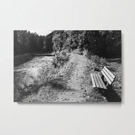 Bank Auerbach Oberaudorf Schwarz Weiß Foto,  Metal Print