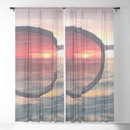 Shaded Key West Sunset Sheer Curtain