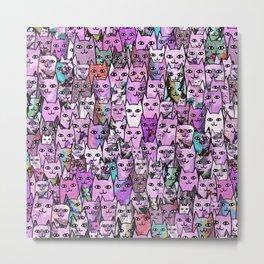 Pink Cat Crowd Metal Print