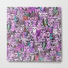 Pink Cat Crowd Metal Print