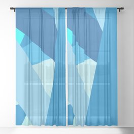 Retro Blue Mid-Century Minimalist Geometric Line Abstract Art Sheer Curtain