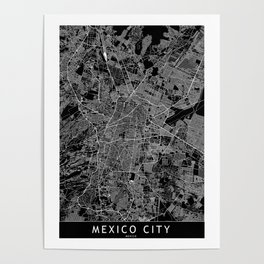Mexico City Black Map Poster
