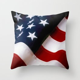 Waving American Flag Throw Pillow
