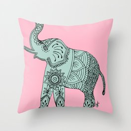 Elephant doodle in mint and pink. Throw Pillow