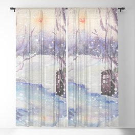 Tardis Art And The Snow River Sheer Curtain