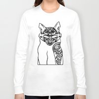maori Long Sleeve T-shirts featuring Maori Kitty by Sofy Rahman