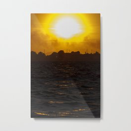 Sea waves at sunset Metal Print