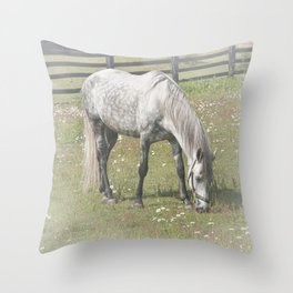 A White Horse in a pasture among Daisy Flowers Throw Pillow